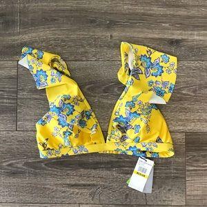 NWT 💛 Sam Edelman medium yellow floral bikini top